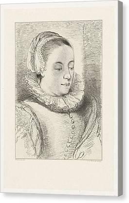 Portrait Of Anna Roemers Visscher, Print Maker Johannes Canvas Print by Artokoloro