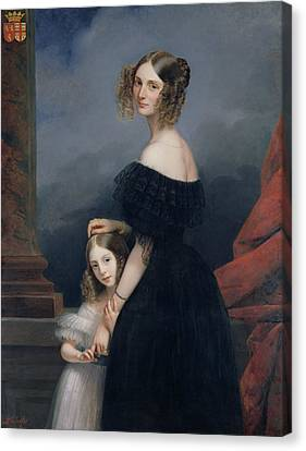 Portrait Of Anne-louise Alix De Montmorency, With Her Daughter, C.1840 Oil On Canvas Canvas Print by Claude-Marie Dubufe