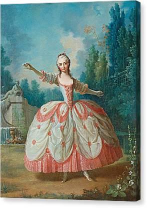 Portrait Of Barbara Campanini Aka La Barbarina Dancing In A Garden Canvas Print by Jean-Philippe de la Roche