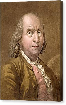 Benjamin Franklin Canvas Print - Portrait Of Benjamin Franklin by Gallo Gallina