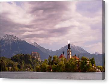 Canvas Print featuring the photograph Portrait Of Bled Slovenia by Graham Hawcroft pixsellpix