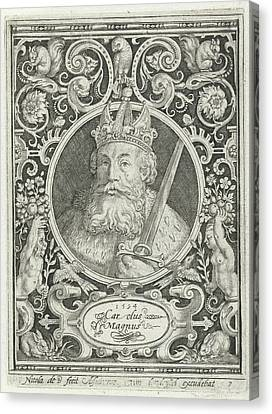 Portrait Of Charlemagne In Medallion Inside Rectangular Canvas Print by Nicolaes De Bruyn And Anonymous