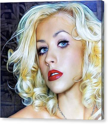 Portrait Of Christina Aguilera Canvas Print by Sippapas Thienmee