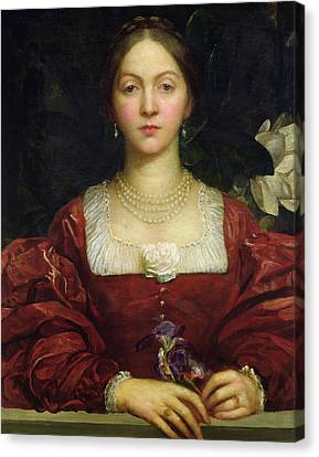 Portrait Of Countess Of Airlie Canvas Print by George Frederick Watts