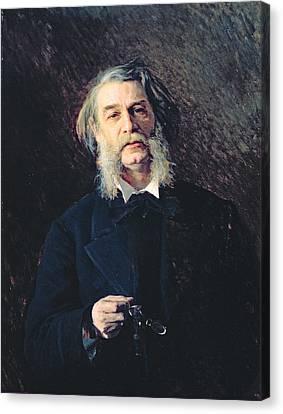Portrait Of Dmitri Vasilievich Grigorovich 1822-99, 1876 Oil On Canvas Canvas Print by Ivan Nikolaevich Kramskoy