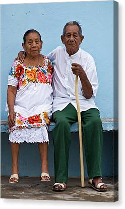 Portrait Of Elderly Couple Canvas Print by Guylain Doyle