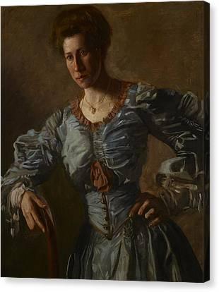 Portrait Of Elizabeth L Burton Canvas Print by Thomas Cowperthwait Eakins