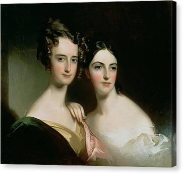 Portrait Of Ellen And Mary Mcilvaine, 1834 Oil On Canvas Canvas Print by Thomas Sully