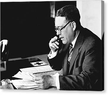 Portrait Of Elmer Irey Canvas Print by Underwood Archives