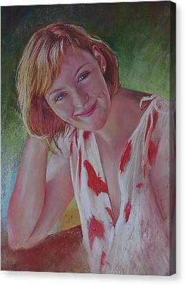 Portrait Of Emily Canvas Print by Lynda Robinson