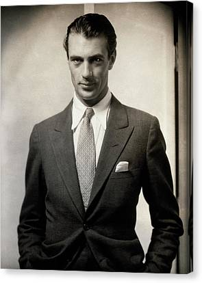 Portrait Of Gary Cooper Wearing A Suit Canvas Print by Edward Steichen