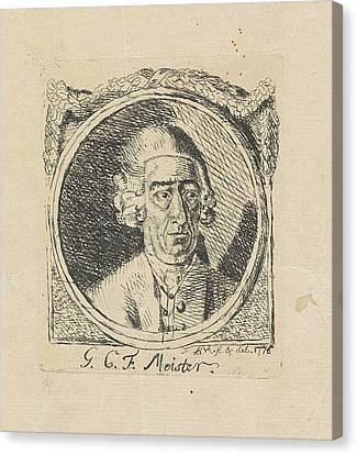 Portrait Of G.c.f Meister, Monogrammist Fbvr Canvas Print by Monogrammist Fbvr