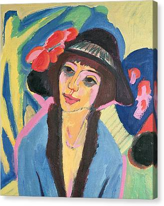 Hat Canvas Print - Portrait Of Gerda by Ernst Ludwig Kirchner