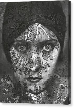 Gloria Canvas Print - Portrait Of Gloria Swanson Behind Lace by Edward Steichen