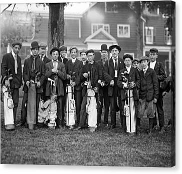 Portrait Of Golf Caddies Canvas Print by Underwood Archives