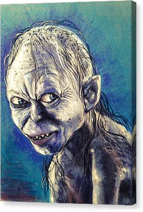 Portrait Of Gollum Canvas Print by Alban Dizdari