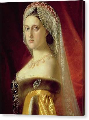 Portrait Of Grand Duchess Maria Nikolaevna Canvas Print by Russian School