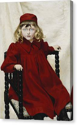 Portrait Of Harriet Fischer, Small Three-quarter Length, Wearing A Red Dress, 1896 Oil On Canvas Canvas Print by Paul Fischer