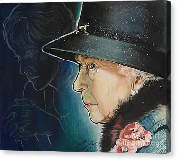 Portrait Of Her Majesty Elizabeth The Second Canvas Print by Ottilia Zakany
