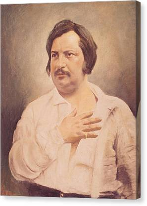 Portrait Of Honore De Balzac Canvas Print by French School