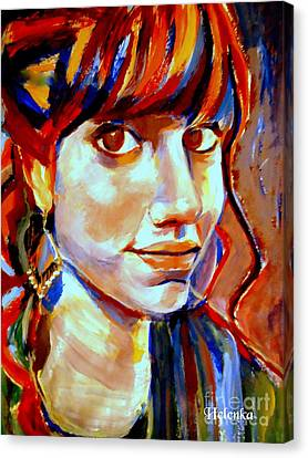 Portrait Of Ivana Canvas Print by Helena Wierzbicki