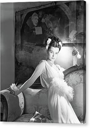 Ostrich Feathers Canvas Print - Portrait Of Joan Bennett In Costume by Horst P. Horst