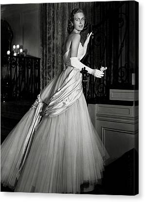 Tulle Canvas Print - Portrait Of Joan Peterkin by Horst P. Horst