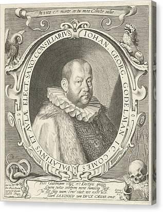Portrait Of Johann Georg Gdelmann, Aegidius Sadeler Canvas Print by Aegidius Sadeler And Johannes Nienborg