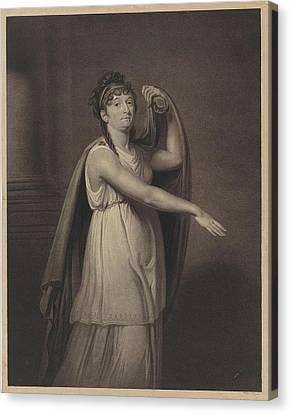 Portrait Of Johanna Cornelia Ziesenis-wattier Canvas Print by Willem Van Senus And Charles Howard Hodges