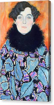 Portrait Of Johanna Staude Canvas Print by Gustav Klimt