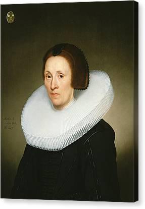 Portrait Of Johanna Van Diemen, Aged 61, 1647 Oil On Panel Canvas Print by Jacob Gerritsz Cuyp