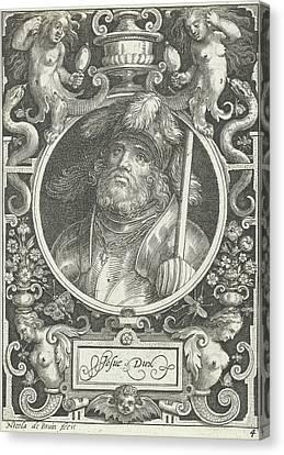 Portrait Of Joshua Medallion Inside Rectangular Frame Canvas Print by Nicolaes De Bruyn