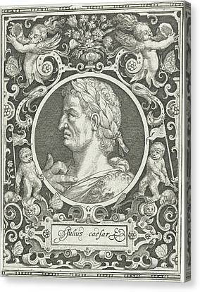 Portrait Of Julius Caesar In Medallion Inside Rectangular Canvas Print