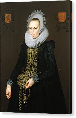 Portrait Of Justina Van Teylingen, 1616 Oil On Panel See 307901 For Pair Canvas Print