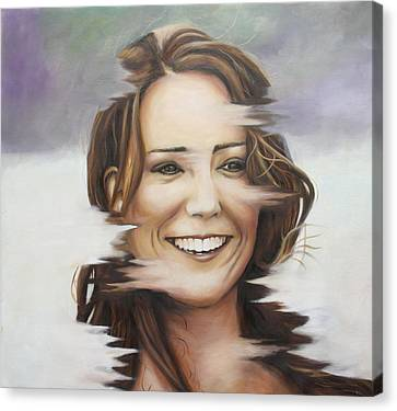 Portrait Of Kate Middleton Canvas Print by Ah Shui
