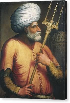 Portrait Of Khair Ed-din, C.1550 Oil On Canvas Canvas Print by Italian School