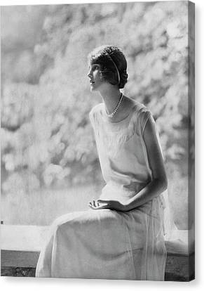Pearl Necklace Canvas Print - Portrait Of Laura Biddle by Edward Steichen