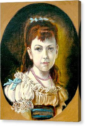 Canvas Print featuring the painting Portrait Of Little Girl by Henryk Gorecki