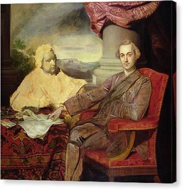 Portrait Of Lord Rockingham And Edmund Canvas Print by Sir Joshua Reynolds