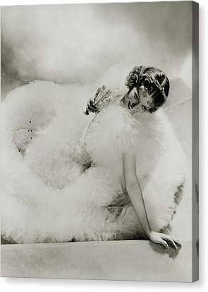 Tulle Canvas Print - Portrait Of Loretta Young by George Hoyningen-Huene