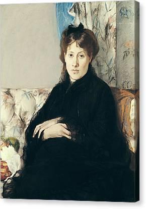 Portrait Of Madame Edma Pontillon Canvas Print by Berthe Morisot