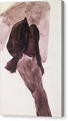 Portrait Of Manet Canvas Print by Edgar Degas