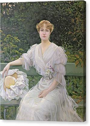 Portrait Of Marguerite Durand Canvas Print by Jules Cayron