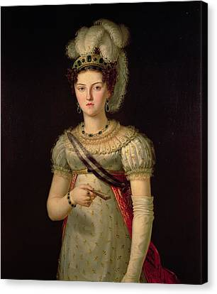 Ostrich Feathers Canvas Print - Portrait Of Maria Josephine Amalia Of Saxony by Francisco Lacoma