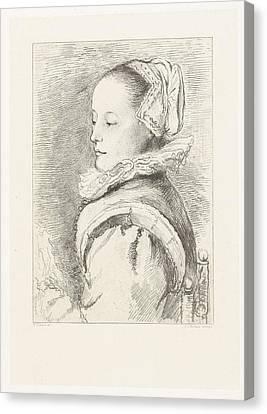 Portrait Of Maria Tesselschade Roemer Visscher Canvas Print by Artokoloro