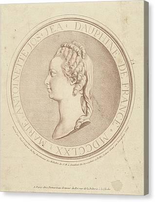 Portrait Of Marie Antoinette, Dauphine Of France Canvas Print by Gilles Demarteau
