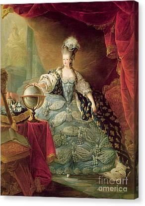 Decolletage Canvas Print - Portrait Of Marie Antoinette Queen Of France by Jean-Baptise Andre Gautier DAgoty
