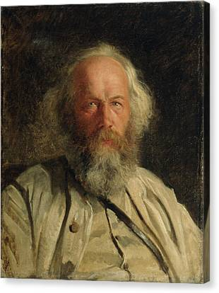 Portrait Of Mikhail Alexandrovich Bakunin 1814-76 1871 Oil On Canvas Canvas Print by Nikolai Nikolajevitch Gay