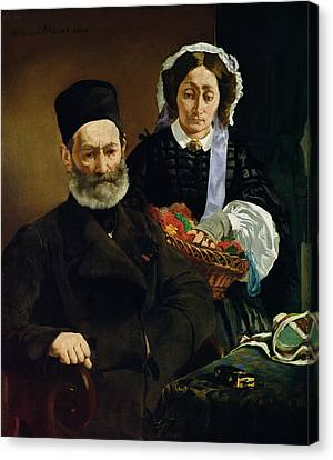 Sombre Canvas Print - Portrait Of Monsieur And Madame Auguste Manet, 1860 Oil On Canvas by Edouard Manet