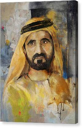 Portrait Of Muhammad Bin Rashid Al Maktoum Canvas Print by Maryam Mughal